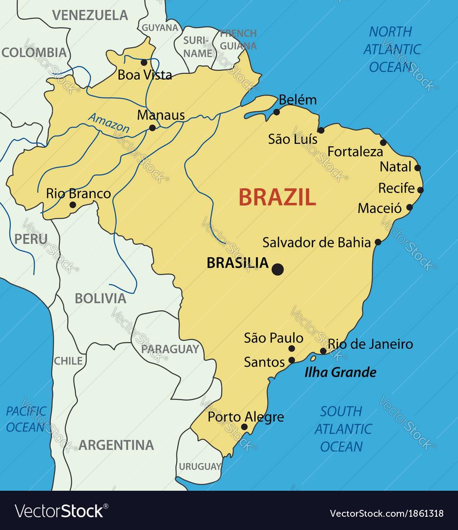 Federative Republic Of Brazil Map Royalty Free Vector - Federative republic of brazil map
