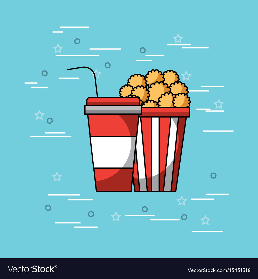 Pop corn and soda concept vector image