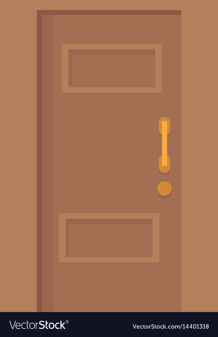 Wooden door entrance closed vector image