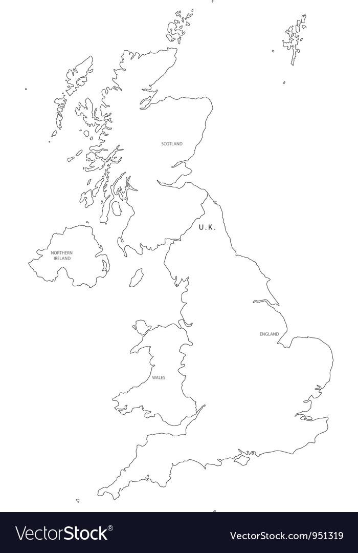 Black White United Kingdom Outline Map Royalty Free Vector - United kingdom map vector