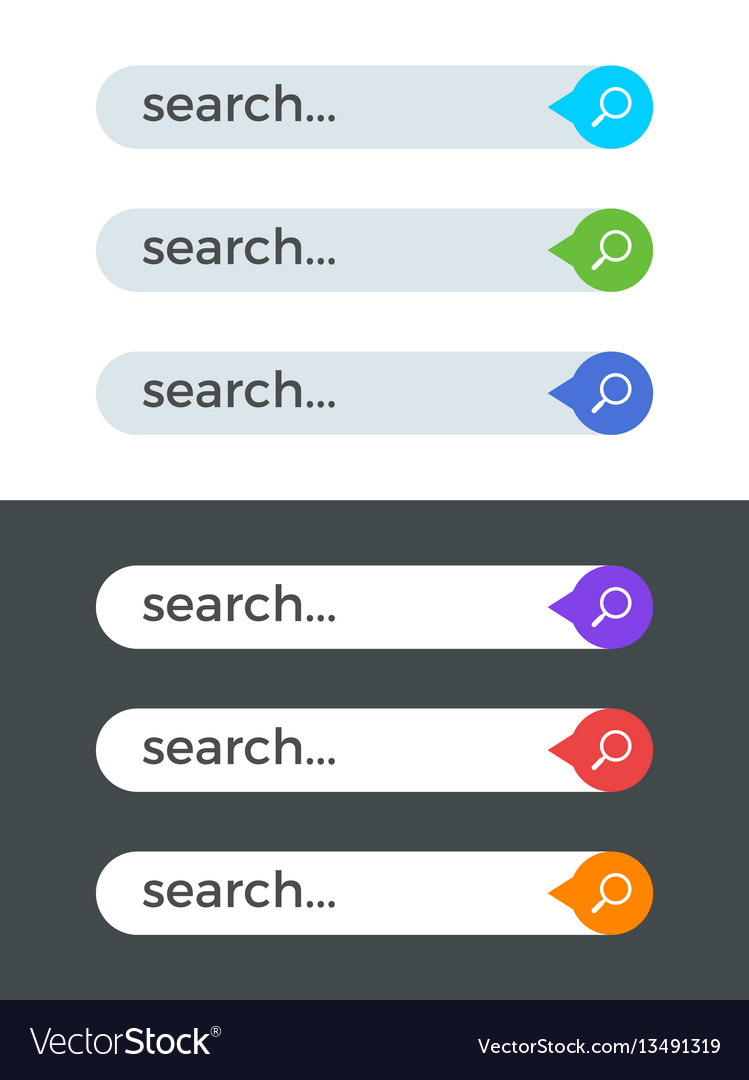Modern internet color search bars templates vector image