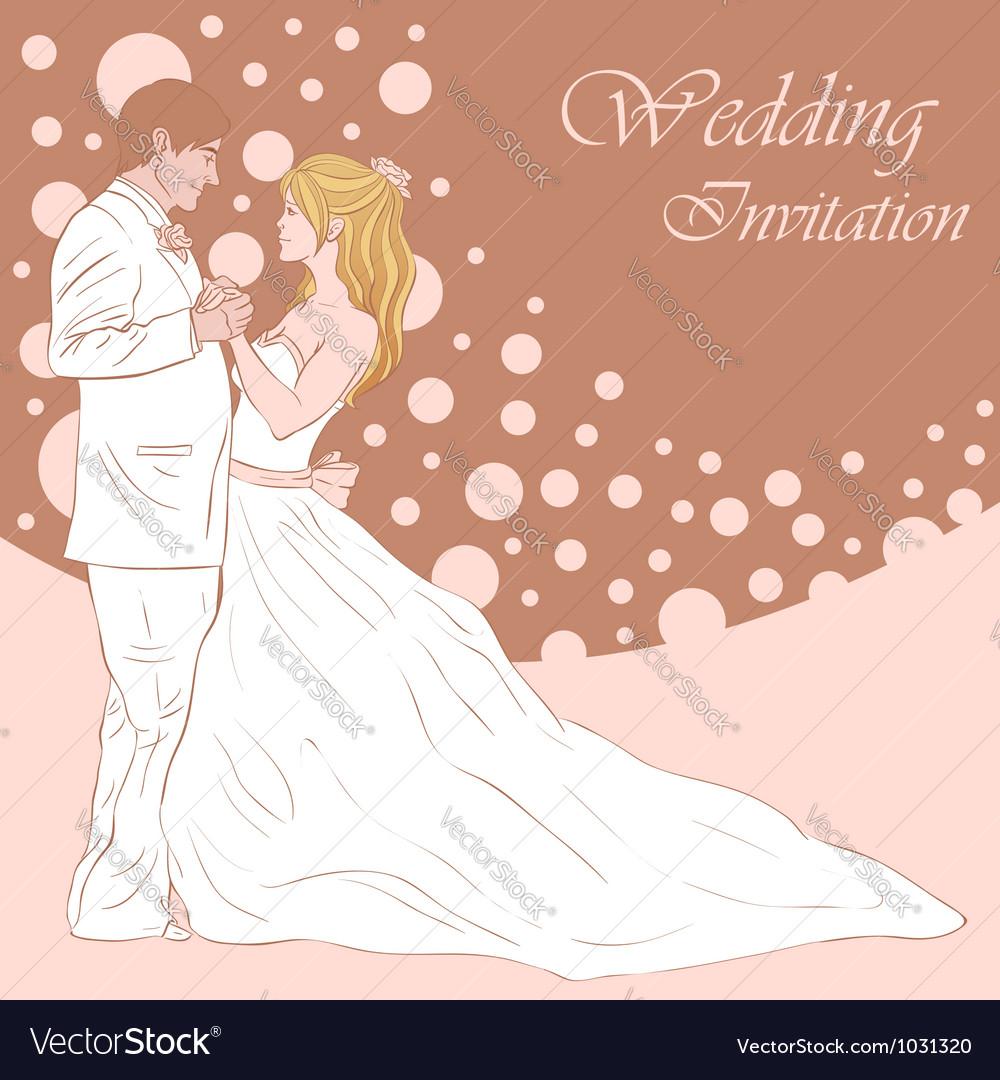 Bride and groom wedding invitation card Royalty Free Vector