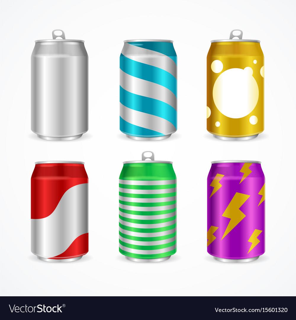 Realistic aluminum cans color empty set vector image