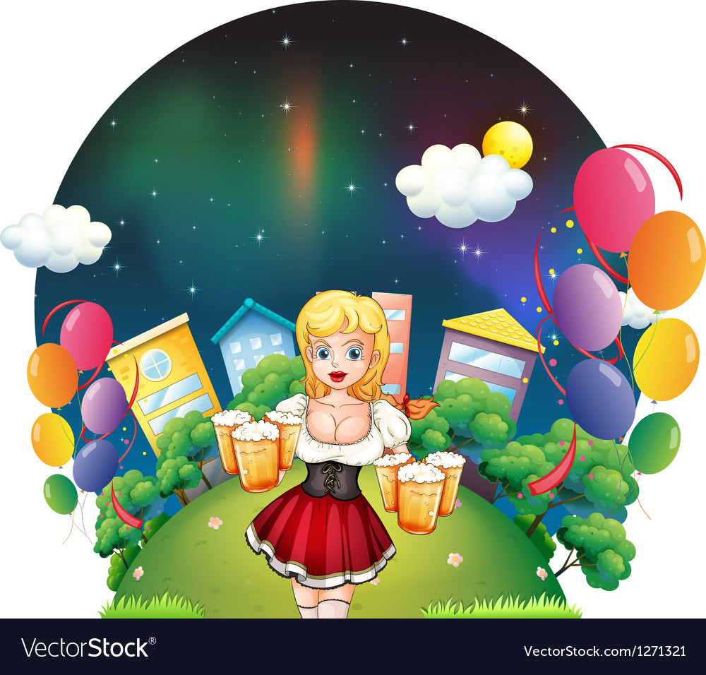 A waitress with six mug of beers Vector Image