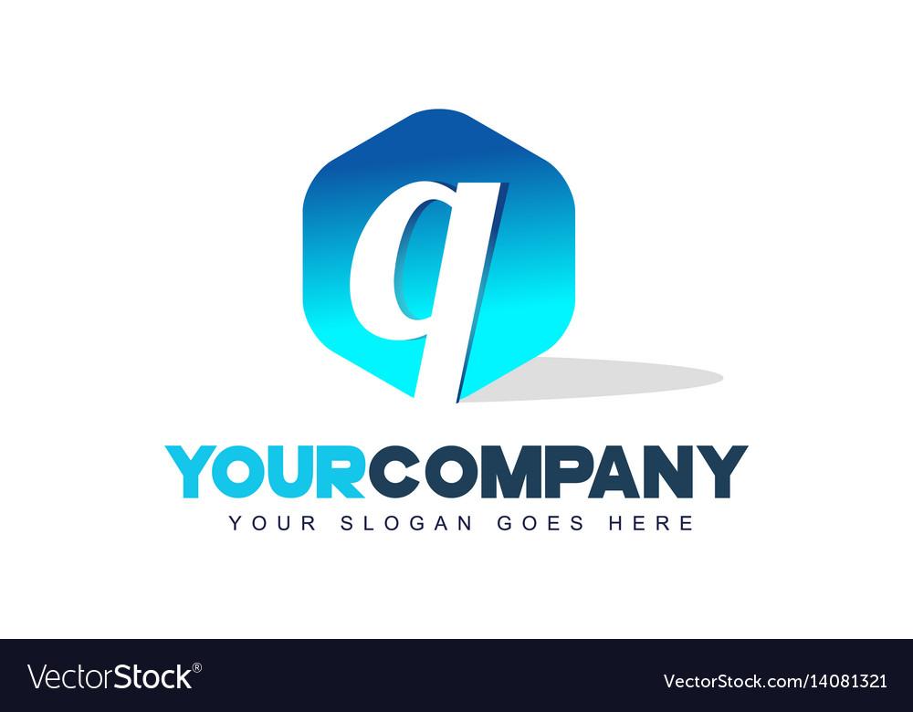 Q letter logo hexagon shape modern design vector image