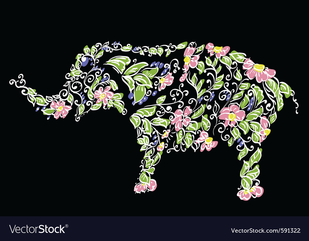 Floral designer elephant vector image