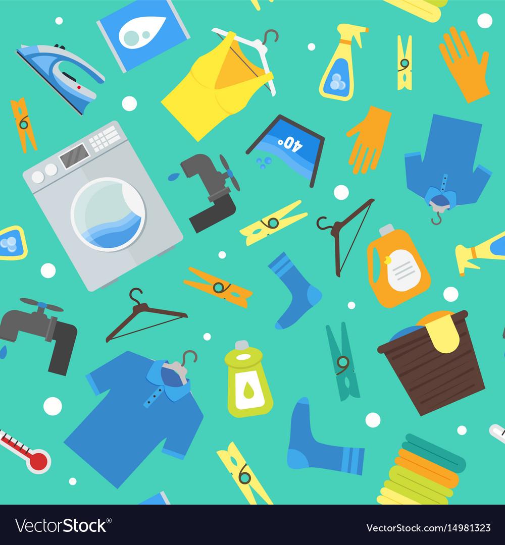 Laundry Background Cartoon Pattern Vector Image U