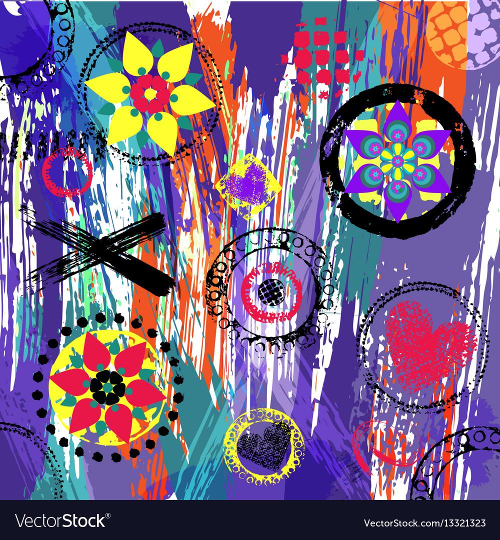 Geometric pattern background retrovintage style vector image