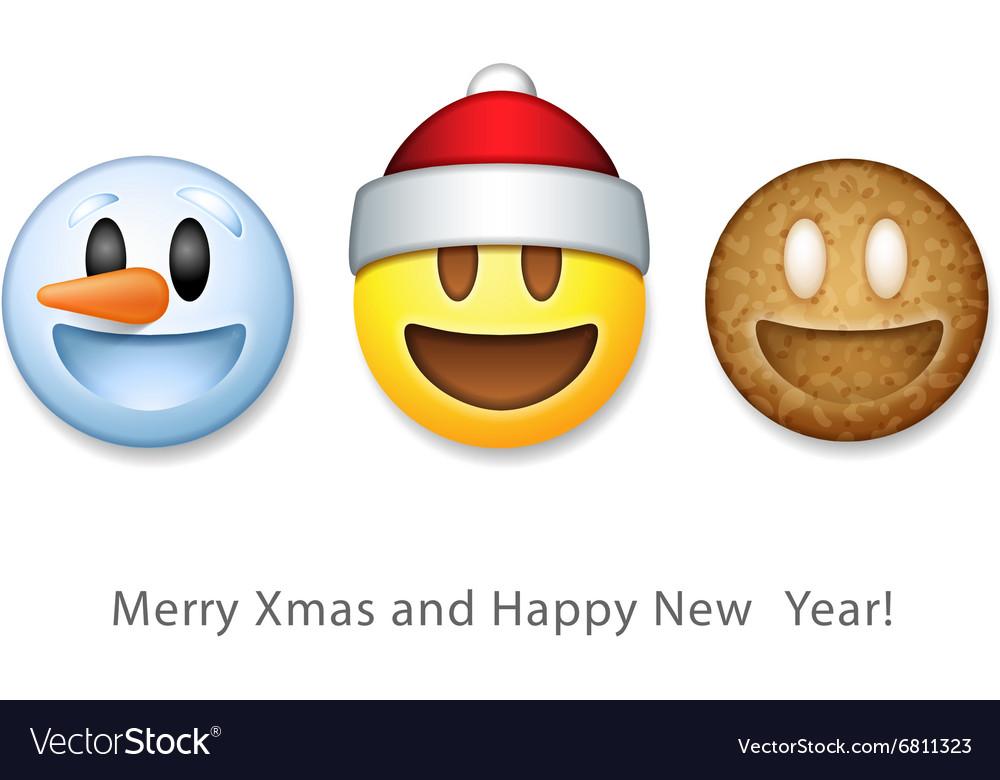 Holiday emoticon set icons Christmas emoji symbol vector image