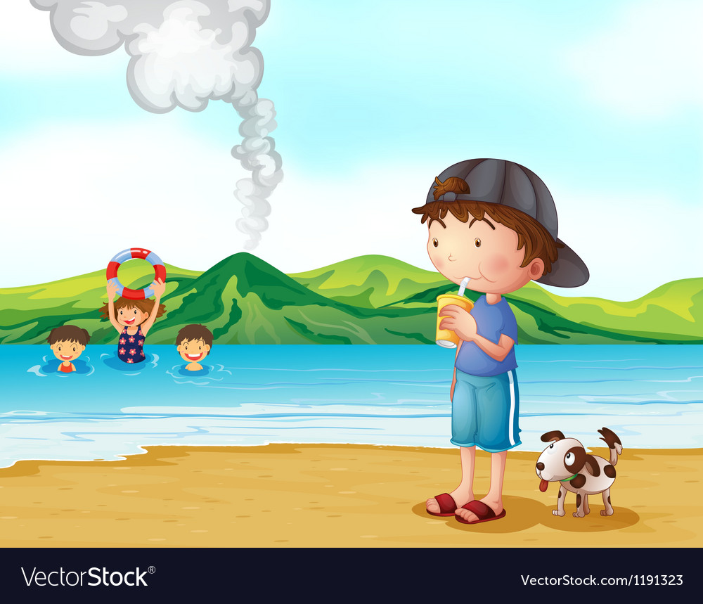 Kids swimming and a boy and his pet at the vector image