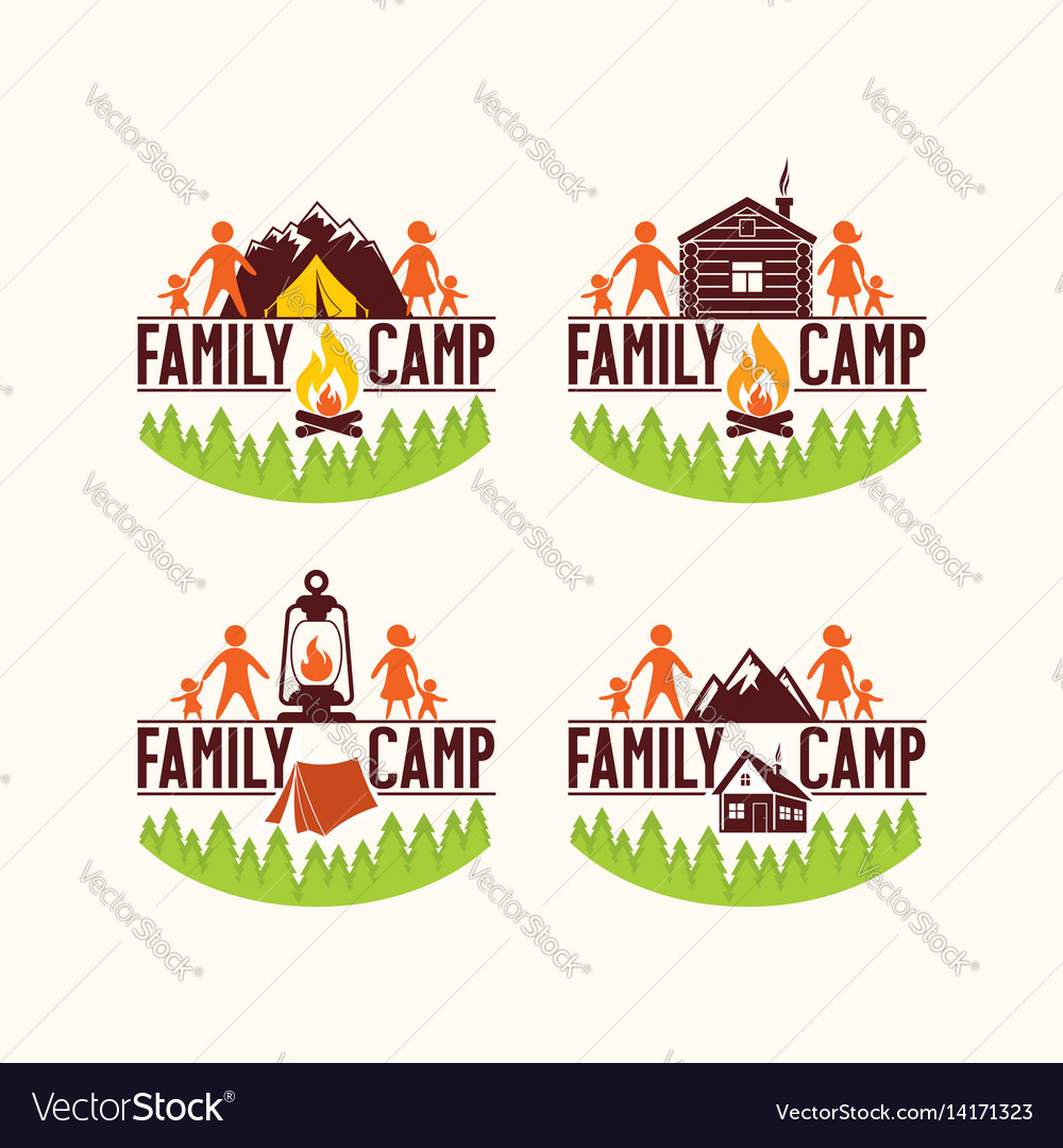 Set of logos of the family camp vector image