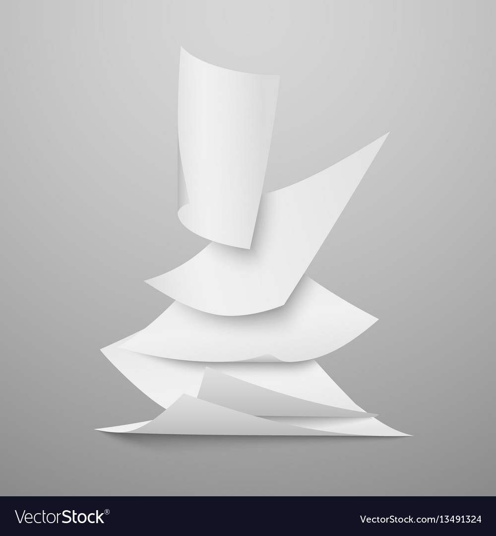 Falling document blank white papers pages vector image