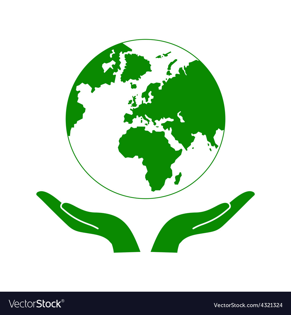 Hands Holding The Green Earth Globe vector image