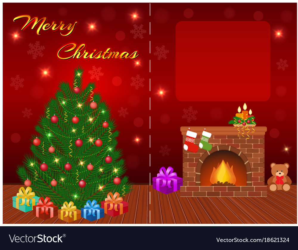 Merry christmas greeting card design with empty vector image kristyandbryce Choice Image