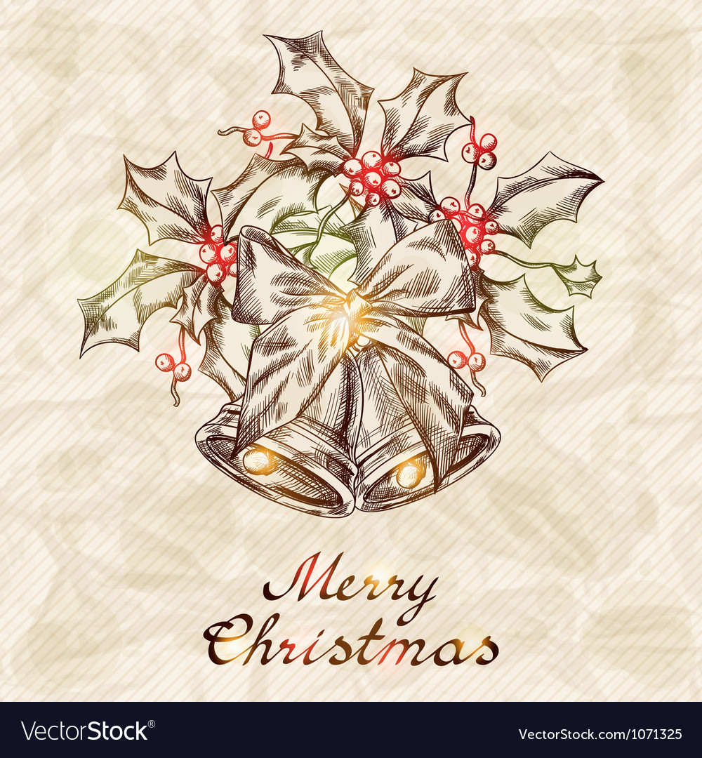 Christmas and New year holidays hand drawn card Vector Image