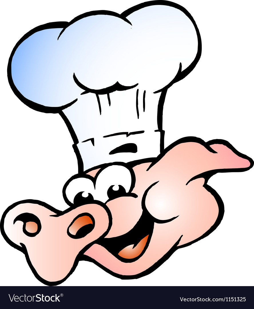 Hand-drawn of an Chef Pig Head vector image
