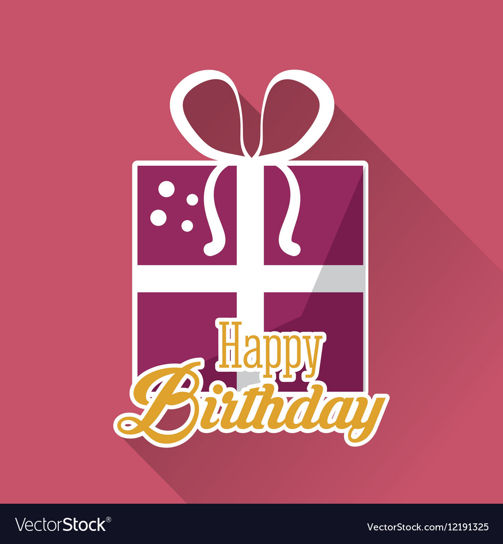 Happy birthday gift box ribbon pink background vector image