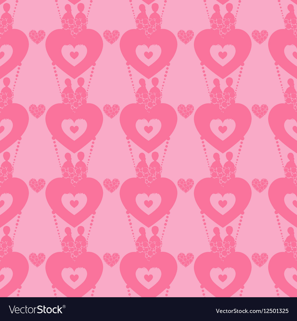Lovers in a balloon seamless pattern Valentine s vector image