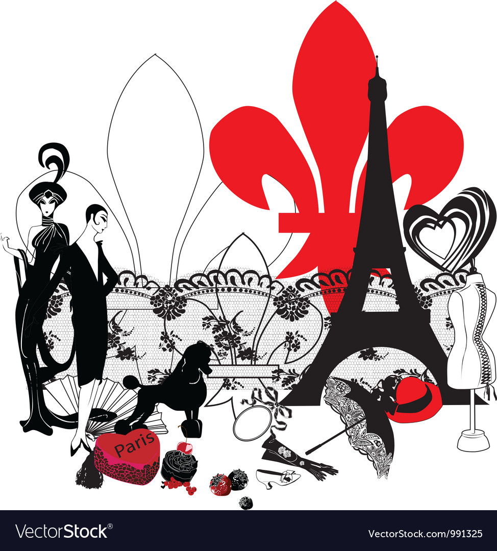 Miniature symbols of Paris vector image