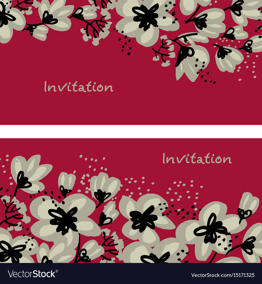 Red floral drawing in freehand style vector image