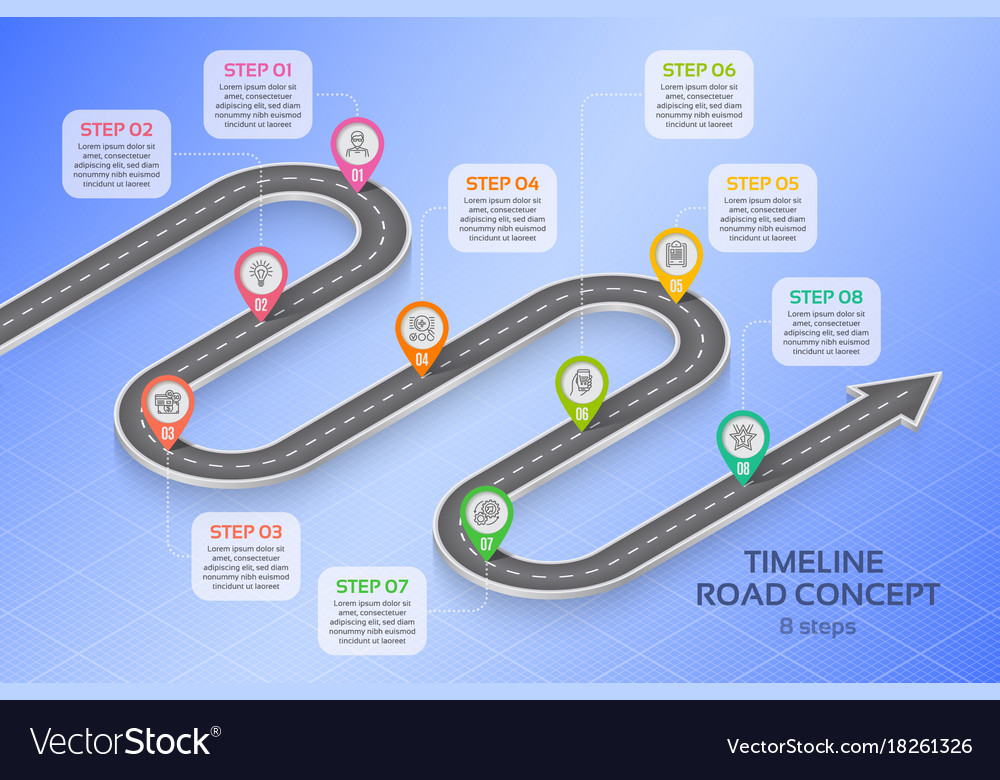 Isometric navigation map infographic 8 steps vector image