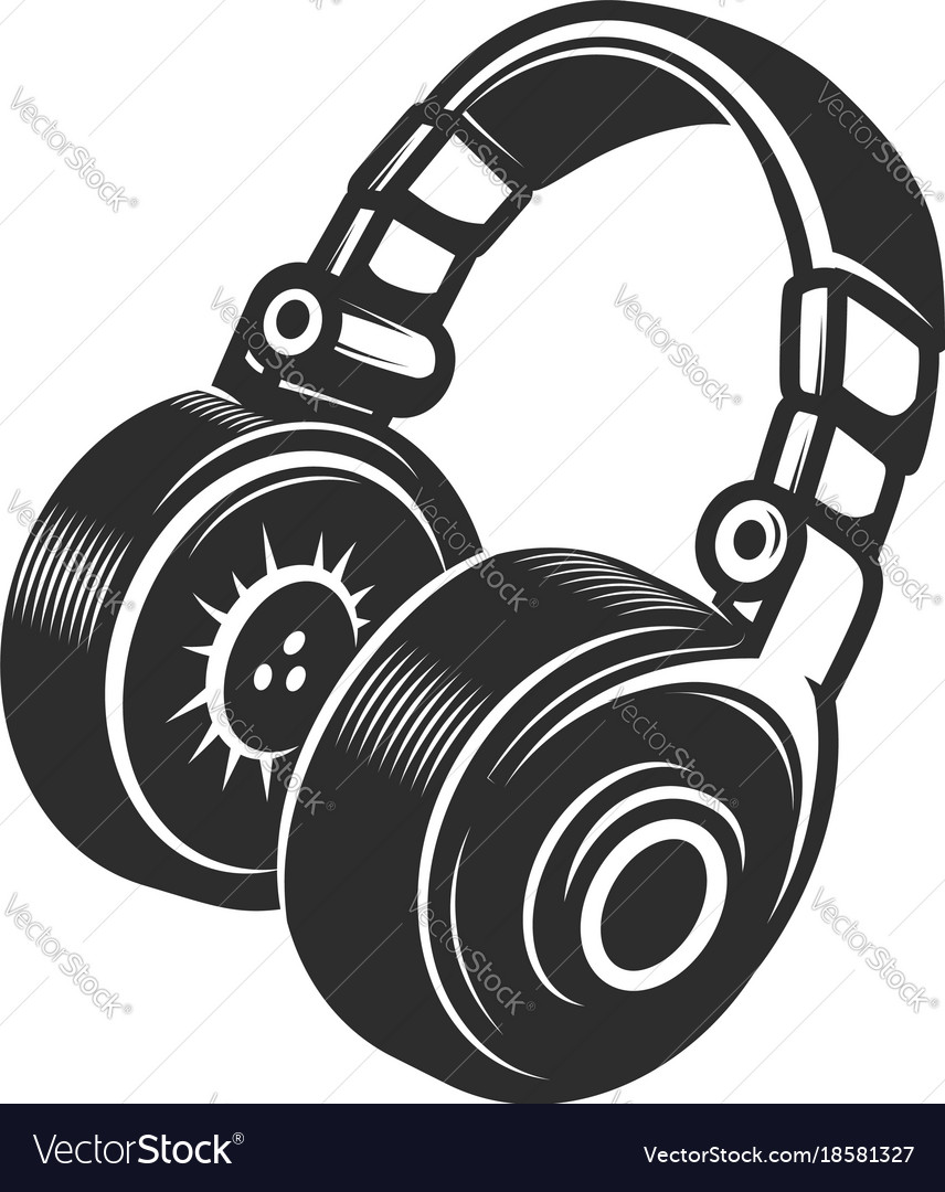 Headphones icon isolated on white background vector image