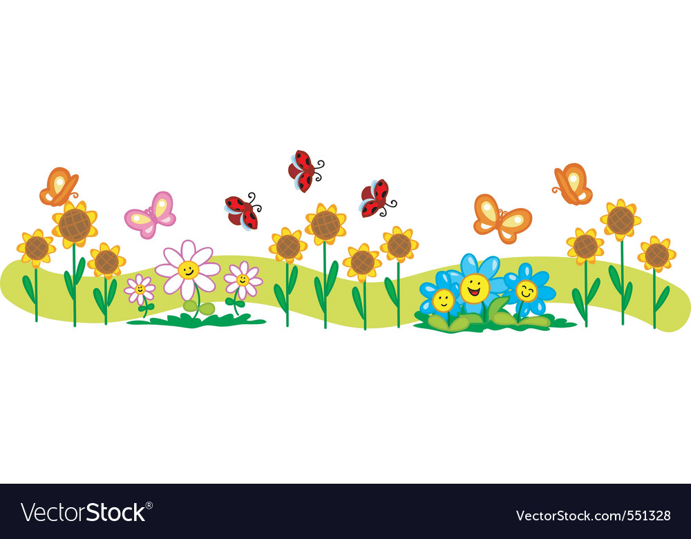 Line of flowers vector art - Download Happy vectors - 551328