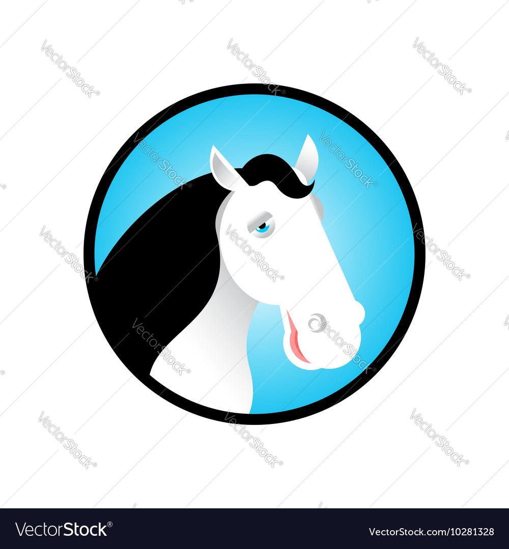 White head horse logo stallion in circle Farm vector image