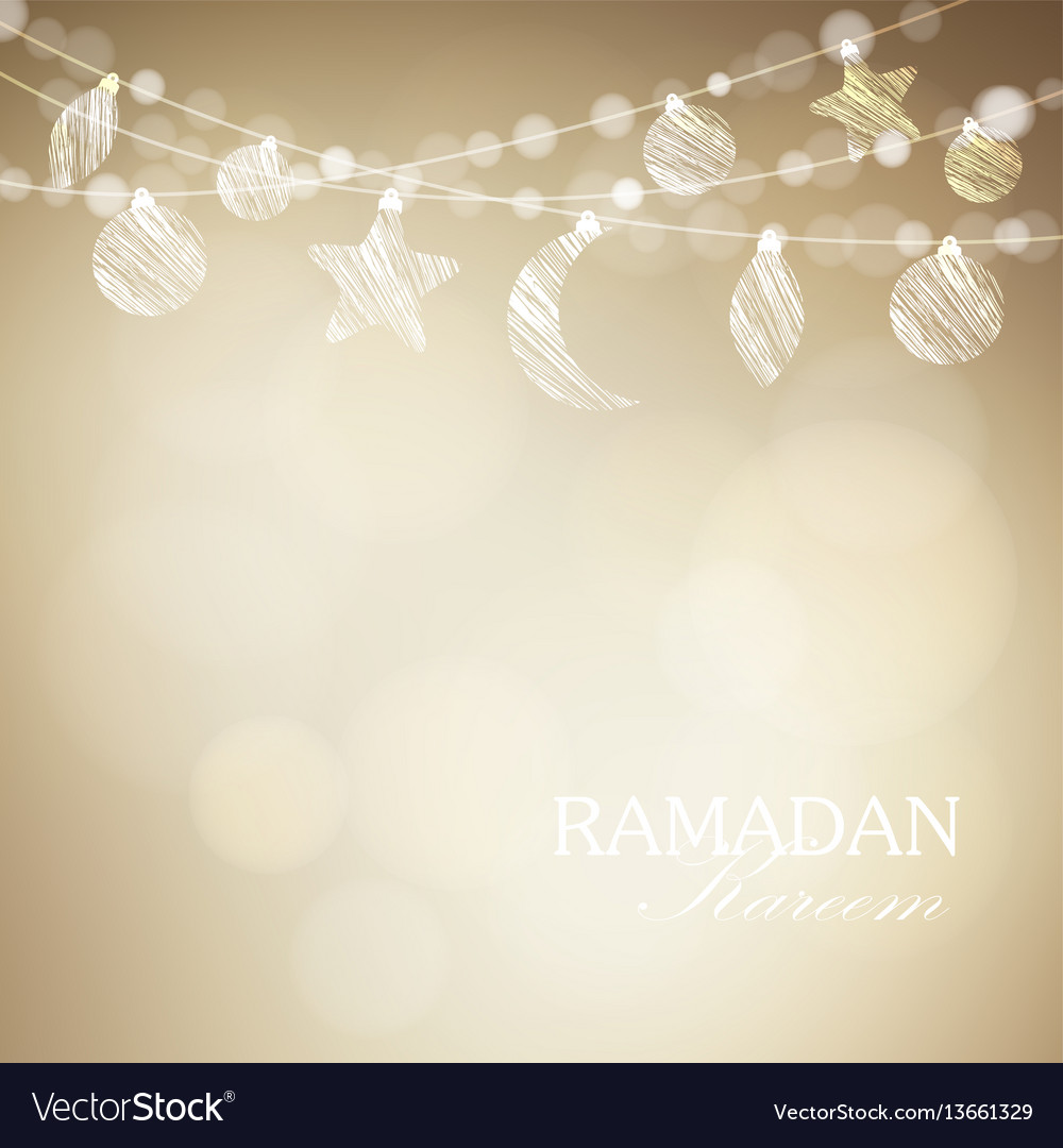String with ornamental moon and bokeh lights vector image
