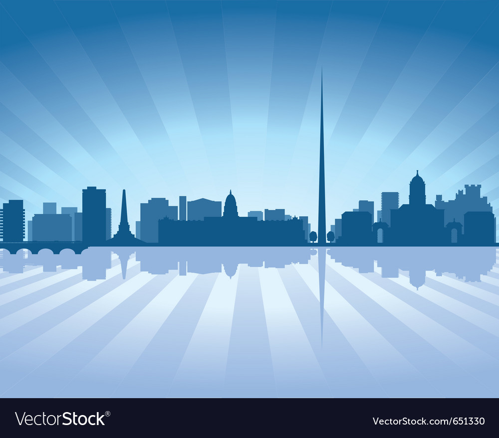 Dublin ireland skyline with reflection in water vector image