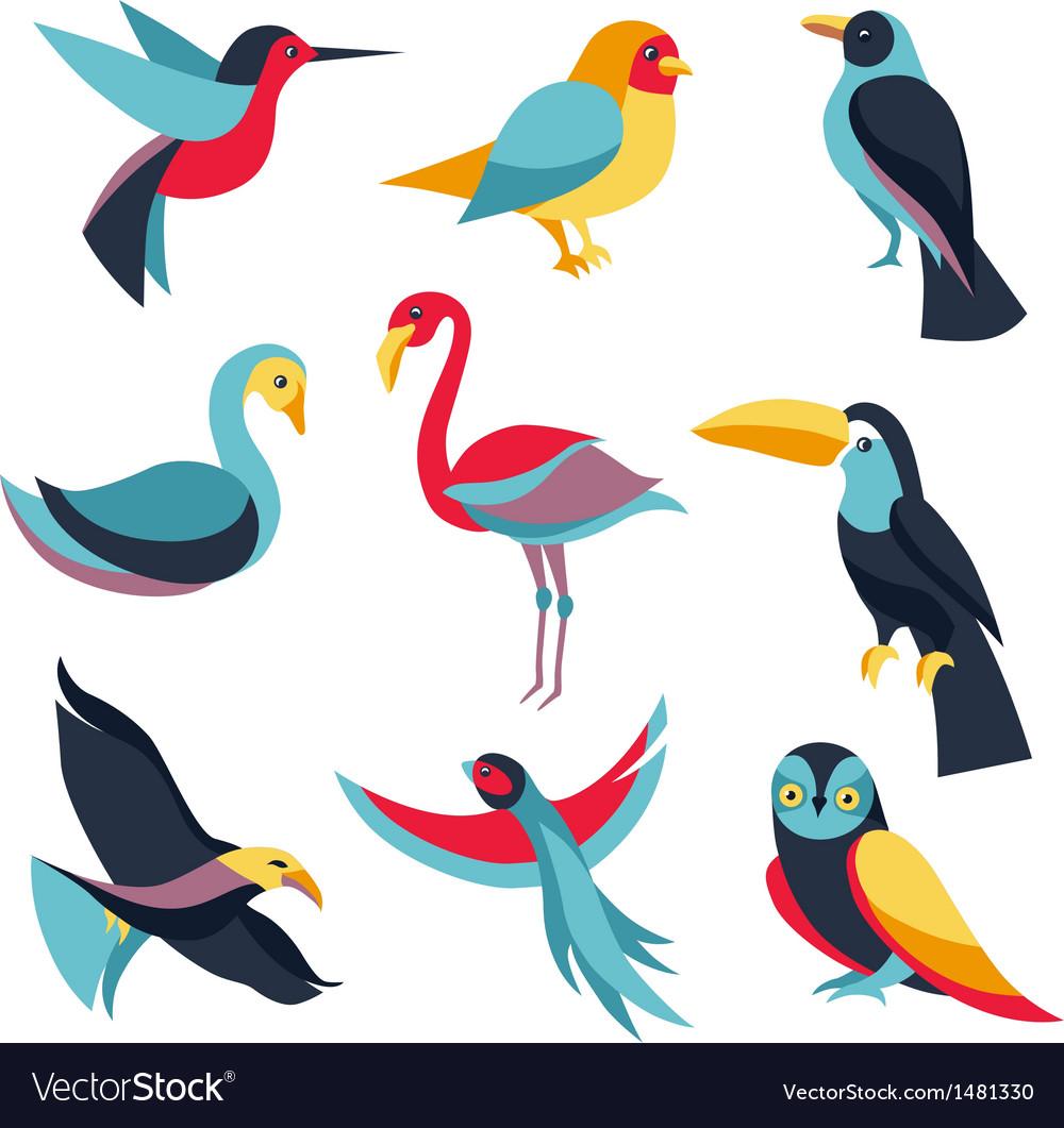 Set of logo design elements - birds signs vector image
