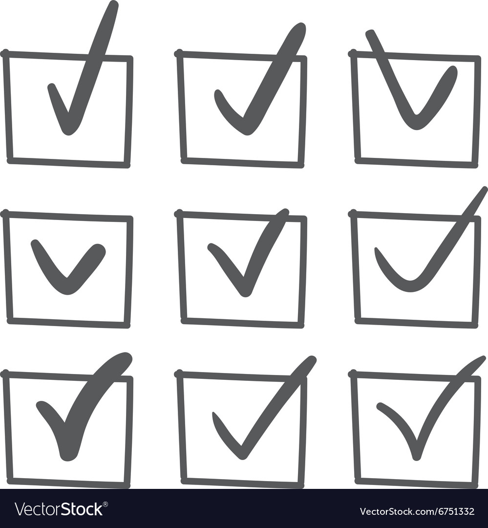Hand drawn check mark set vector image