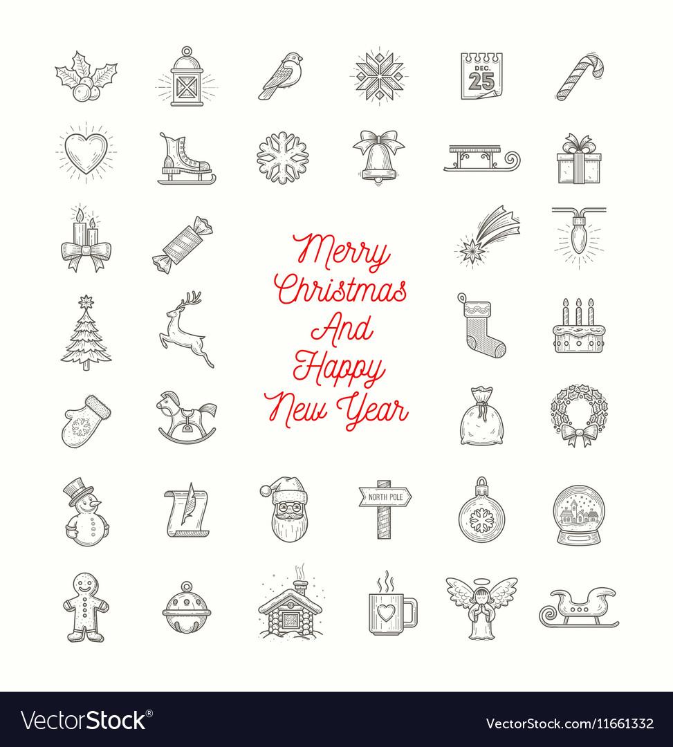 Set of Christmas line art icons vector image