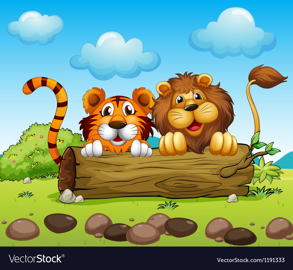 A lion and a tiger hiding vector image