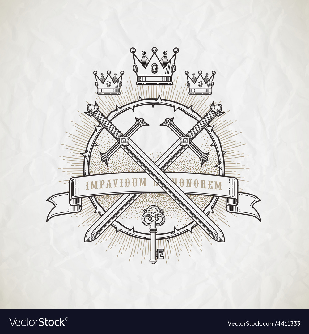 Abstract heraldic line art emblem vector image