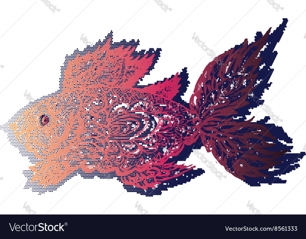 Line Art Of Fish : Fish grunge lineart royalty free vector image vectorstock