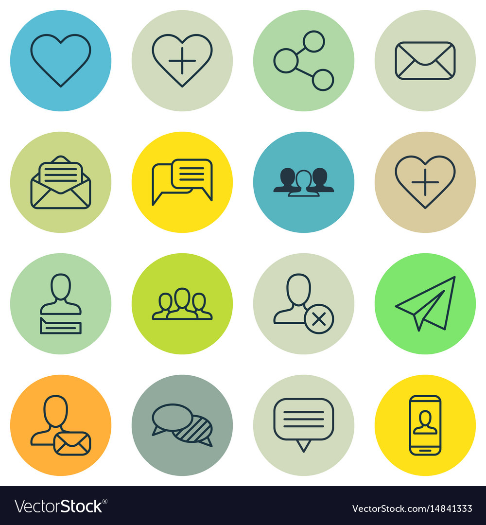 Set of 16 social icons includes read message vector image