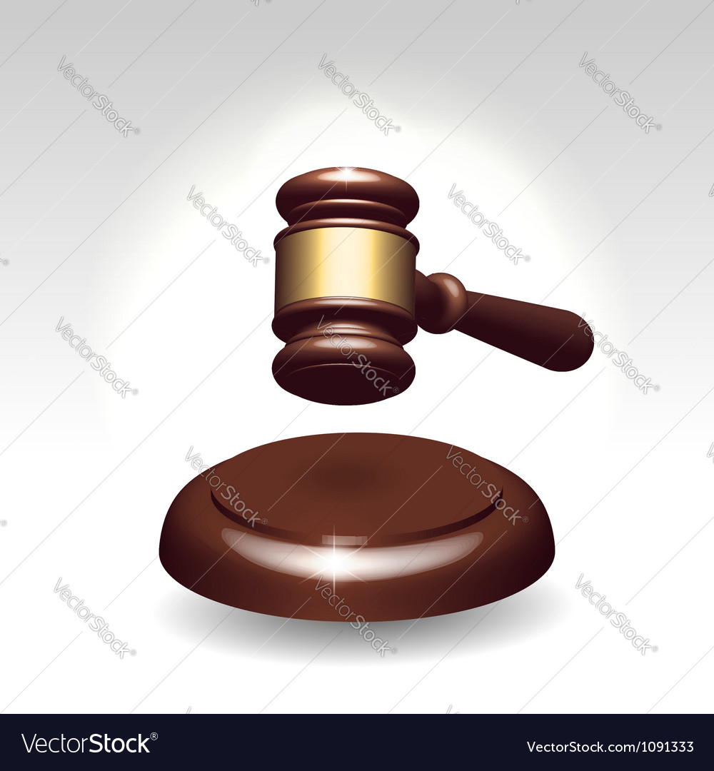 Wooden gavel as justice services symbol vector image