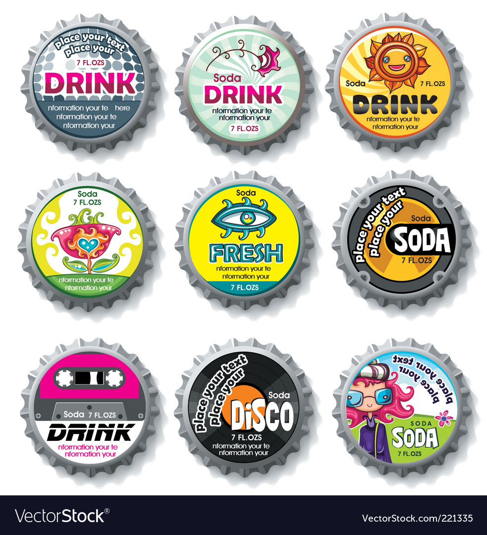 Bottle caps set vector image