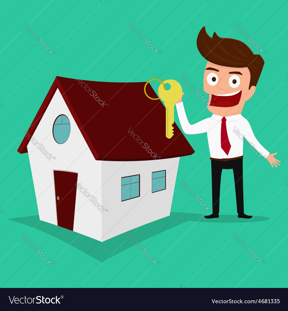 Businessman holding the key of a new home vector image