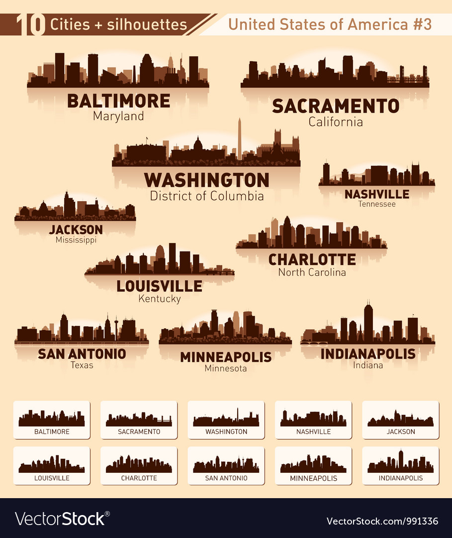 Skyline city set 10 cities of USA 3 vector image