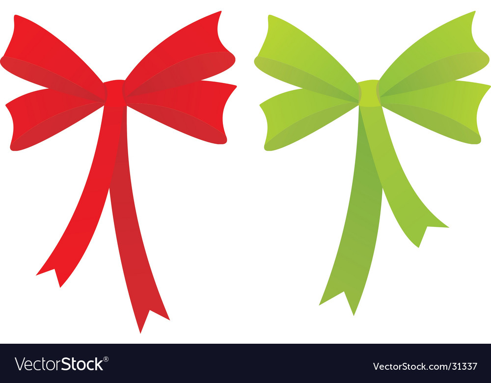 Red an green bow illustration vector image
