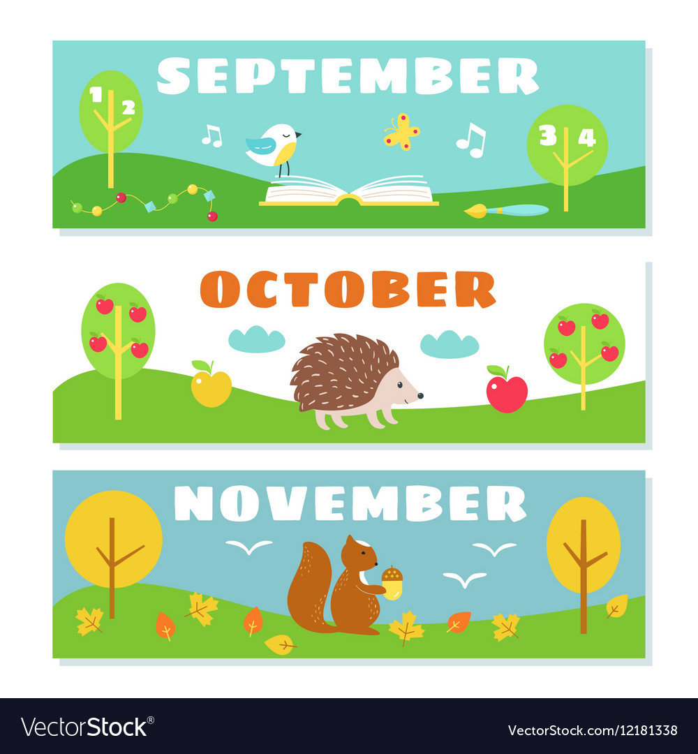 Months In Fall: Autumn Months Calendar Flashcards Set Nature And Vector Image