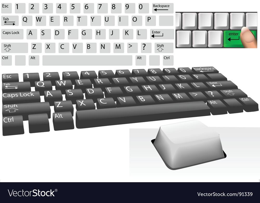 Computer keys and keyboard vector image