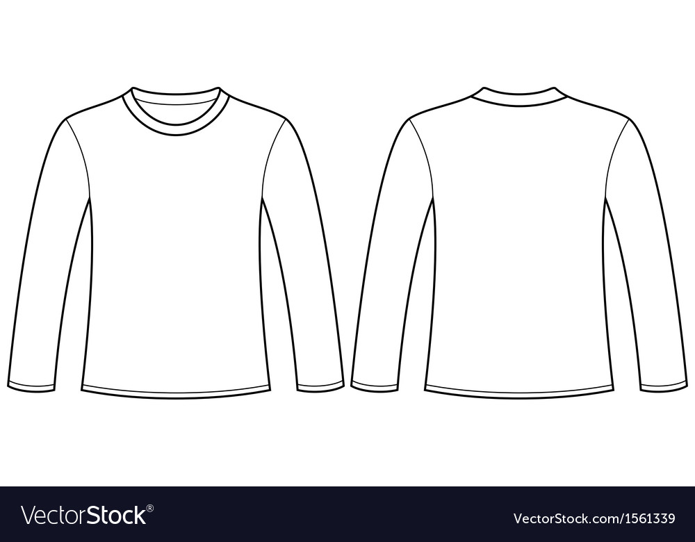 Long-sleeved T-shirt template vector image