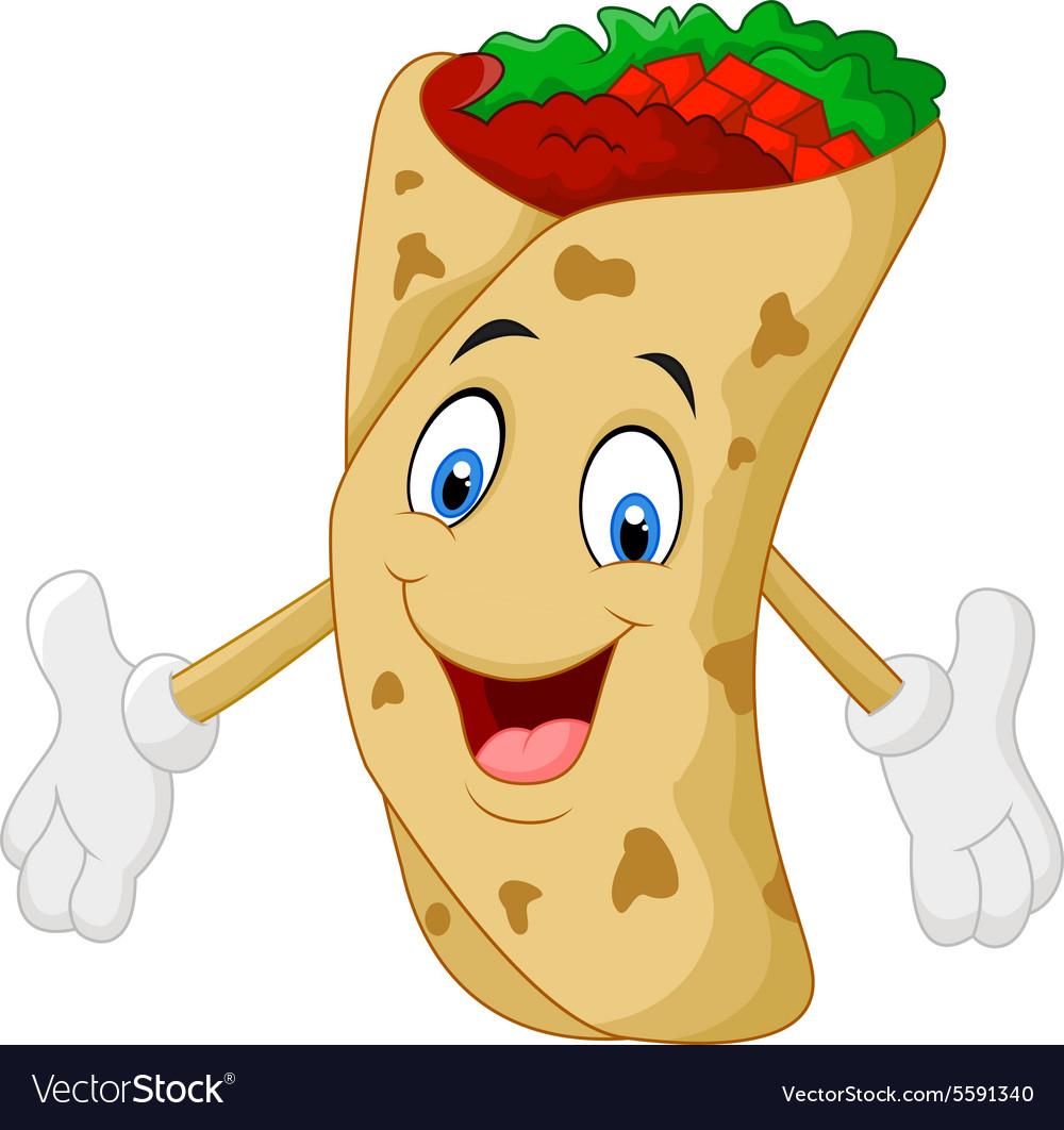 Cartoon burrito vector image