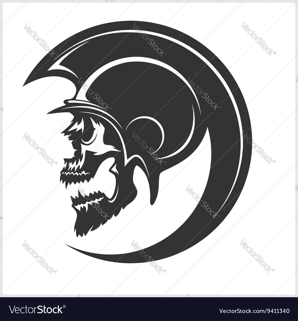 Spartan Skull and Helmet silhouette vector image