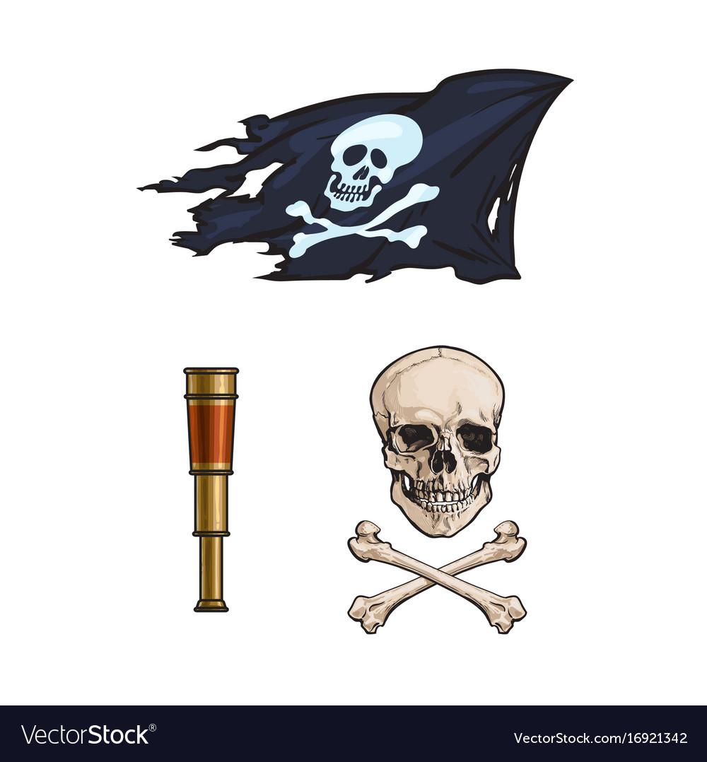 Cartoon pirates symbols set isolated vector image