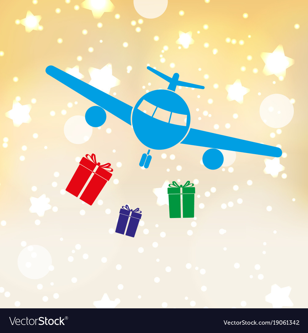 Christmas stars background with airplane and vector image