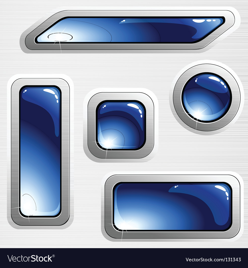 Brushed steel banners and buttons vector image